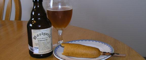 Mustard ale & corn dogs
