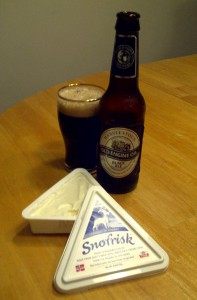 Harviestoun Old Engine Oil and Snofrisk Cheese