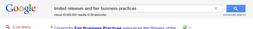 Google: limited releases and fair business practices