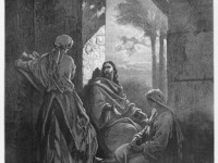 Jesus in the house of Martha and Mary.  Picture from The Holy Scriptures, Old and New Testaments books collection published in 1885, Stuttgart-Germany. Drawings by Gustave Dore.