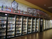 Wall of chilled beer at 99 bottles