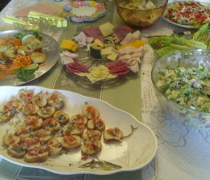 A party spread I put together; everyone loved The Old Hen's Chopped Pizza Salad recipe