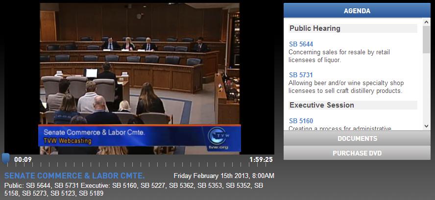 Washington State Senate Public Hearing on SB 5731