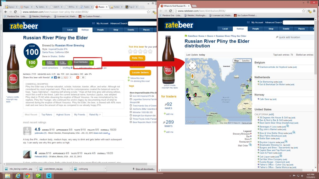 Checking a beer's distribution on RateBeer