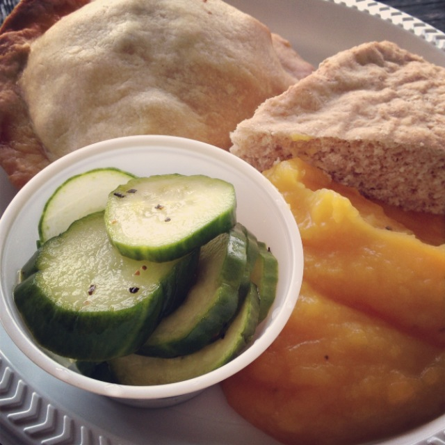 Pilgrim food: poultry & berry hot pocket, dry bread, unspiced squash, pickles